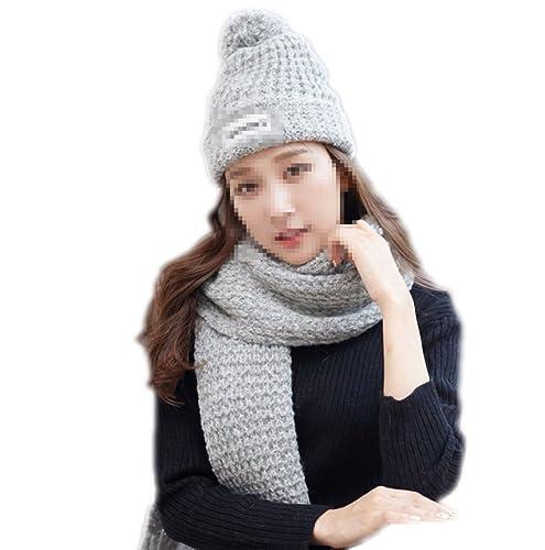 QPALZM Conjunto De Guantes Y Bufanda De Invierno Con Sombrero De Copo De Nieve Para Mujeres,Grey-One...