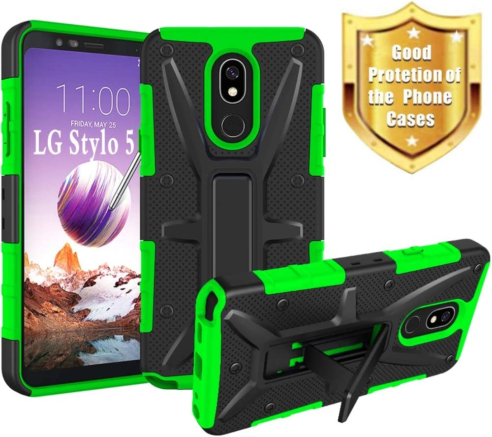 HNHYGETE Designed for LG STYLO 5 Plus(2019) Case,LG Stylo 5 Cell Phone Case,Dual Layer Heavy Duty Non Slip Shockproof Bumper Rugged Protective Cover (Green)