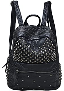 5e6f4715963f Sannea Womens Studded Leather Backpack Casual Pack Fashion School Bags for  Girls