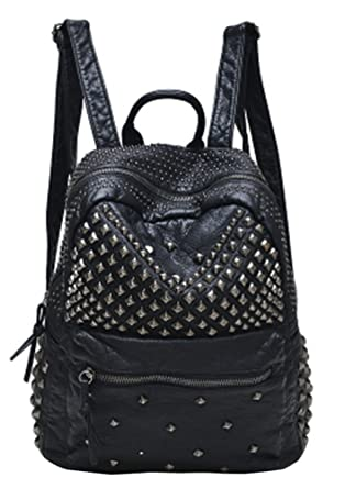 Sannea Womens Studded Black Leather Backpack Casual Pack Fashion School  Bags for Girls 900471f9360b5