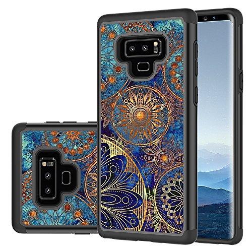 Samsung Galaxy Note 9 Case, LEEGU [Shock Absorption] Dual Layer Heavy Duty Protective Silicone Plastic Cover Rugged Case for Samsung Galaxy Note 9 (2018) - Gear Wheel