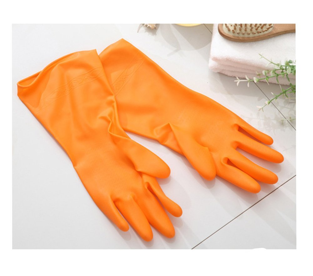 Distinct® 1 Pair Rubber Latex Dish Washing Cleaning Gloves Household Kitchen Glove(Orange)