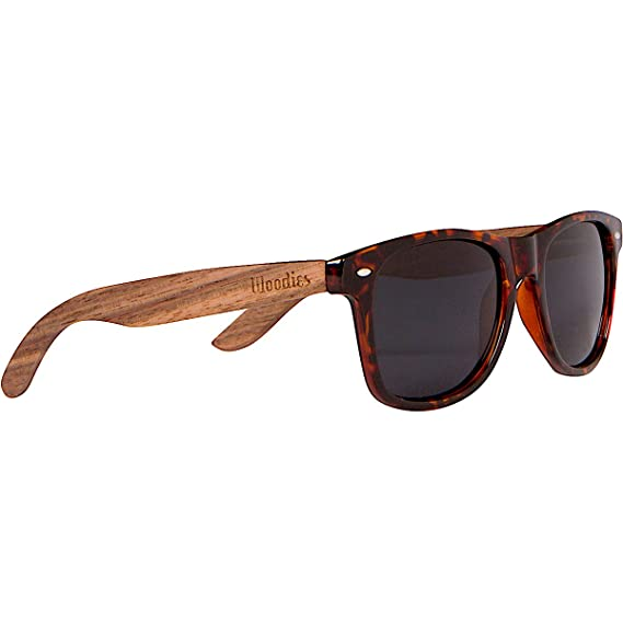 Woodies Walnut Wood Polarized Sunglasses with Tortoise Shell Frame