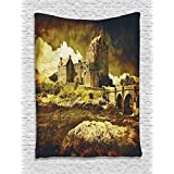 Medieval Decor Tapestry Wall Hanging by Ambesonne, Old Scottish Castle in Vintage Style European Middle Age Culture Heritage Town Photo, Bedroom Living Room Dorm Decor, 60WX80L Inches, Grey Green