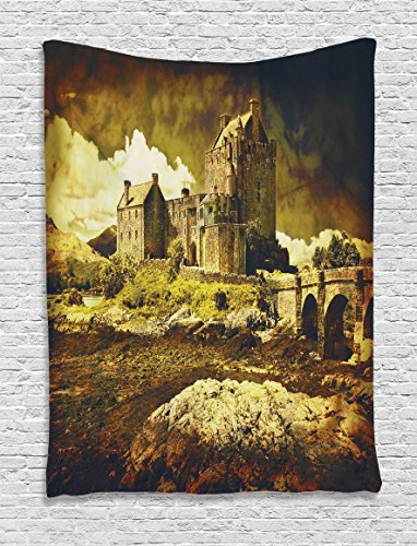 Ambesonne Medieval Decor Tapestry, Old Scottish Castle in Vintage Style European Middle Age Culture Heritage Town Photo, Wall Hanging for Bedroom Living Room Dorm Decor, 60 W x 80 L Inches, Sepia