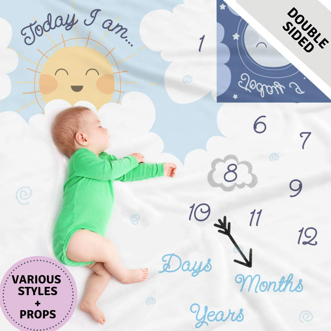 Double Sided Monthly Baby Milestone Blanket- Month Blanket for Baby Pictures | Photo Blanket with Baby Photo Props | Monthly Blankets for Newborns | Baby Boy and Girl Milestone Blanket by Scheuer Brand (Image #1)