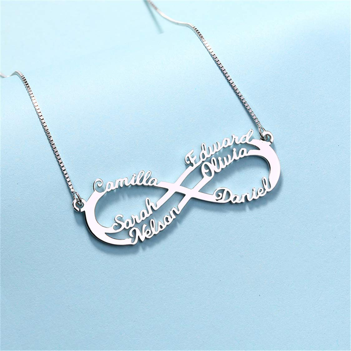 Shiny Alice Personalized Infinity Necklace Custom Family Necklace Mother Necklace Mother Gift 6 Names Necklace