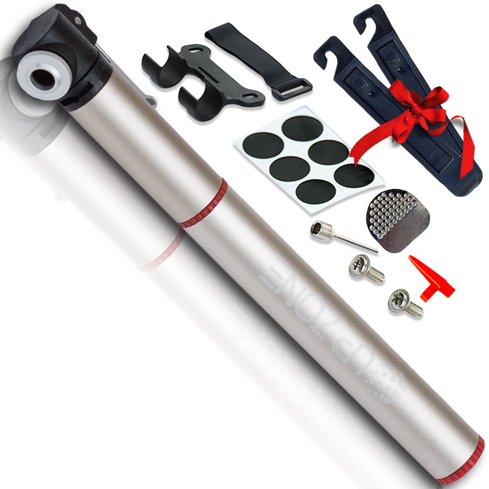 UP ZONE Professional Mini Bike Pump, Fits Presta & Schrader, 120 PSI, Tire Repair Kit, Mini Bicycle Pump, Lighweight Aluminium Housing, Perfect For Basketball, Soccer, Football, Inflatable Toys
