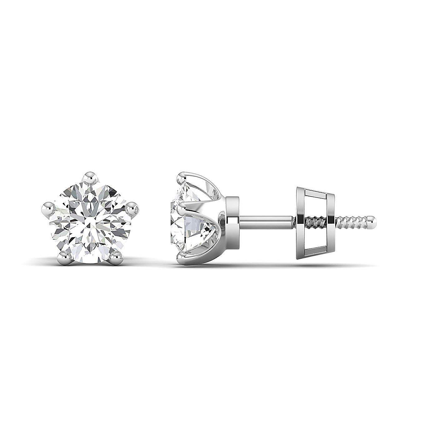 Stud Earrings for Women perfect Jewelry Gifts for Women Teen Girls /Pure Gold // 925 Sterling Silver Round Brilliant Earring Studs 0.3 to 4 Carat Moissanite Stud Earrings GH//VVS