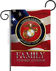 Marine Corps US Family Honor Garden Flag Armed Forces USMC Semper Fi United State American Military Veteran Retire Official Small Decorative Gift Yard House Banner Double-Sided Made In USA 13 X 18.5