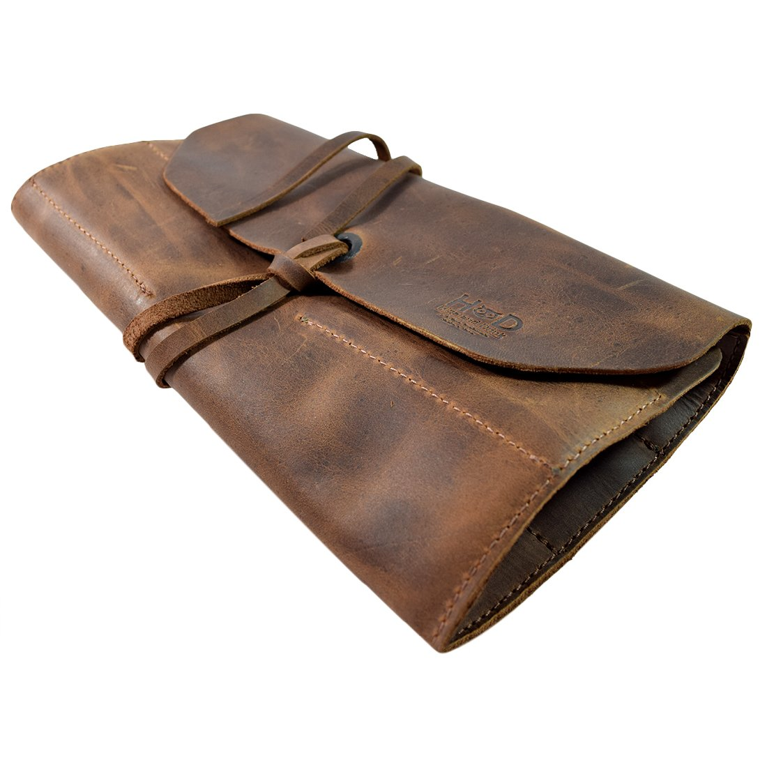 Rustic Leather Small Tool Roll Handmade by Hide & Drink :: Bourbon Brown by Hide & Drink (Image #6)