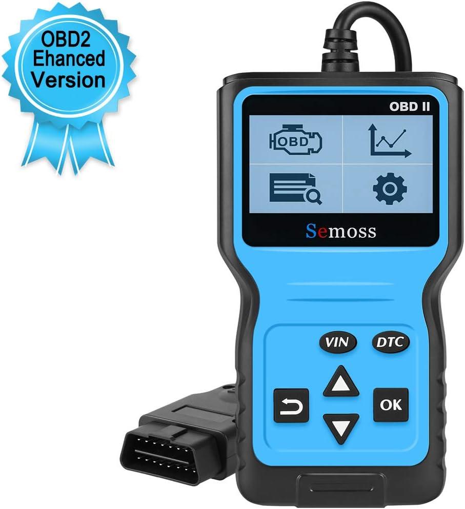 Semoss Portatil Universal OBD2 Diagnóstico Escáner Lector Codigos Error del Motor para Coche SUV Diesel Essence,Monitor y Alarma de Salud del Auto,Azul