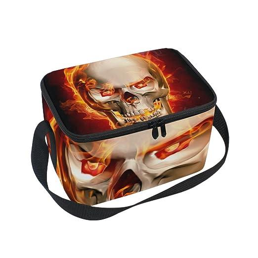 Bolso de almuerzo con diseño de calavera con llamas de fuego y ...