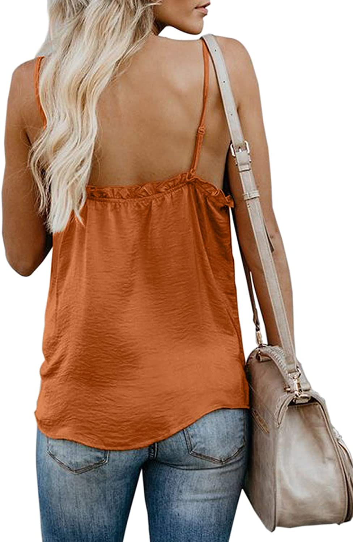 BLENCOT Womens Ruffle V Neck Spaghetti Strap Cami Tank Tops Casual Sleeveless Shirts Blouses