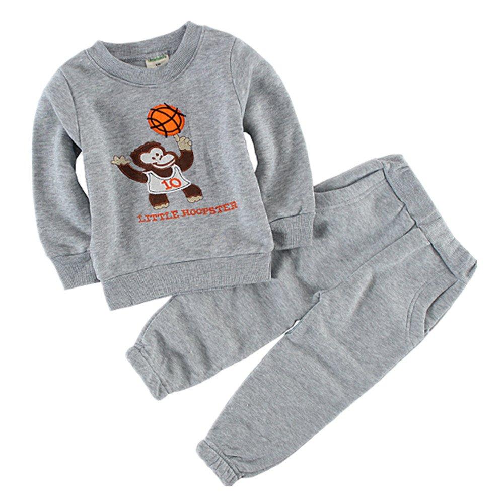 LittleSpring Little Girls Pant Sets Fleece Cartoon