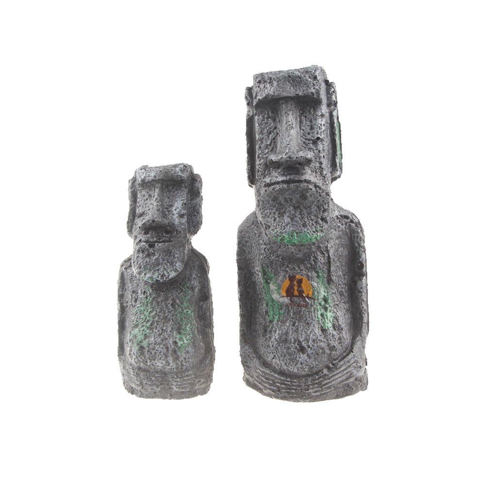 Emours Ancient Easter Island Stone Head Statues Reptile Aquarium Fish Tank Decor, 2 Pack Pet accessories