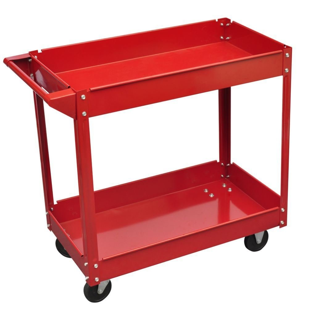 2 Tray Utility Rolling Cart Dolly 220lbs Storage Shelves Workshop Garage Tool