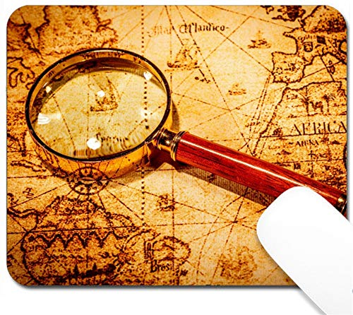 MSD Mouse Pad with Design - Non-Slip Gaming Mouse Pad - Image 21076992 Vintage Still Life Vintage Magnifying Glass Lies on an Ancient World map -