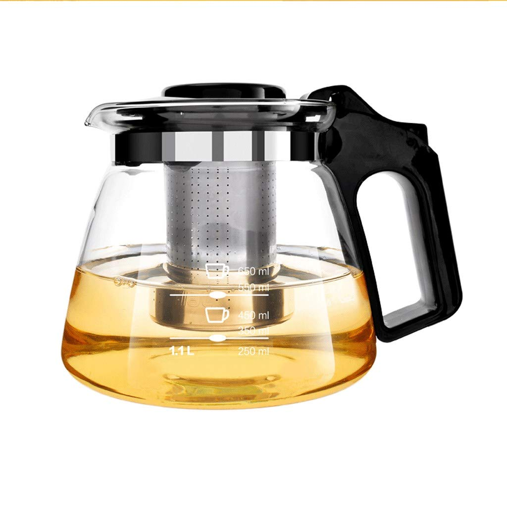 Teapot Stainless Steel Filter Large Capacity, Heat Resistant Glass Borosilicate Tea Pot for Loose Tea, Withstand A Temperature Difference of 160 Degrees Celsius by FYJK