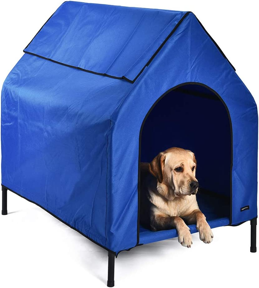 AmazonBasics Elevated Portable Pet House, Medium 43 x 35 x 30 Inches , Blue