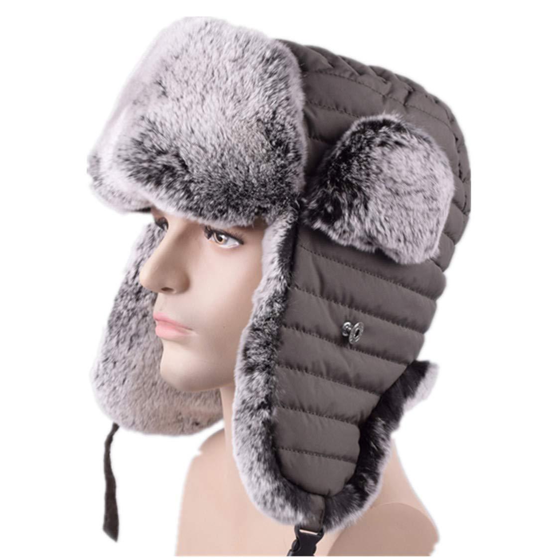 Bomber Hats Fur Ear-Flap Mens Winter Snow Russian Panama Aviator Hat