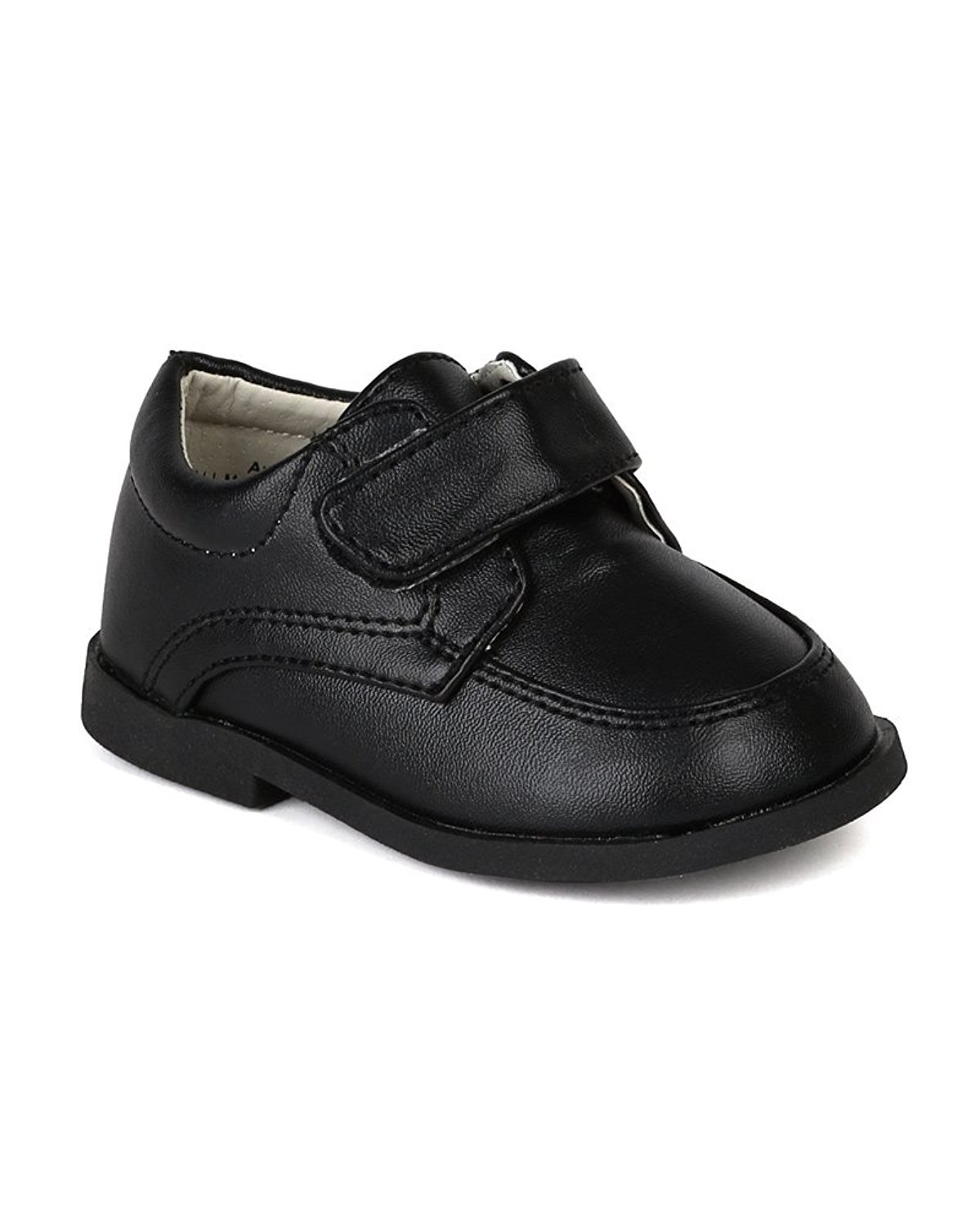 Auston AH58 Leatherette Velcro Strap School Dress Shoe (Infant / Toddler Boys) - Black (Size: Toddler 4)