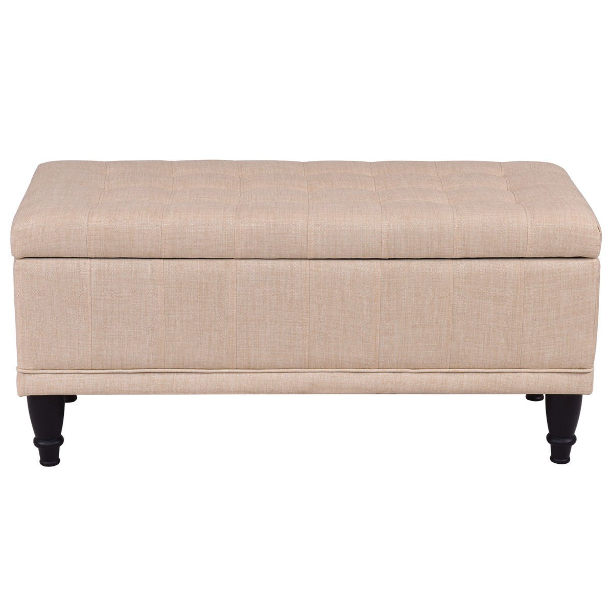 """Giantex 42"""" Fabric Tufted Storage Ottoman Bench Lift Top Storage Bench With Solid Wood Legs (Beige) by Giantex (Image #5)"""