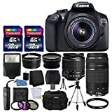 Photo : Canon EOS Rebel T6 Digital SLR Camera + Canon 18-55mm EF-S f/3.5-5.6 IS II Lens & EF 75-300mm f/4-5.6 III Lens + Wide Angle Lens + 58mm 2x Lens + Slave Flash + 64GB Memory Card + Wired Remote + Bundle