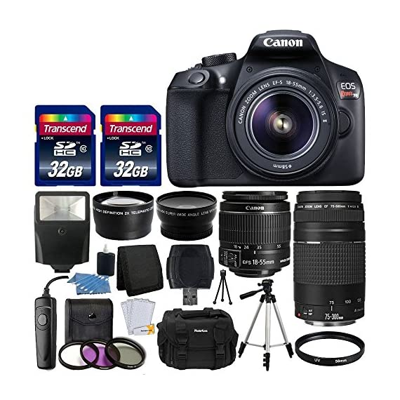 Canon EOS Rebel T6 Digital SLR Camera + Canon 18-55mm EF-S f/3.5-5.6 IS II Lens & EF 75-300mm f/4-5.6 III Lens + Wide Angle Lens + 58mm 2x Lens + Slave Flash + 64GB Memory Card + Wired Remote + Bundle - 61NRBbvOQBL - Canon EOS Rebel T6 Digital SLR Camera + Canon 18-55mm EF-S f/3.5-5.6 IS II Lens & EF 75-300mm f/4-5.6 III Lens + Wide Angle Lens + 58mm 2x Lens + Slave Flash + 64GB Memory Card + Wired Remote + Bundle