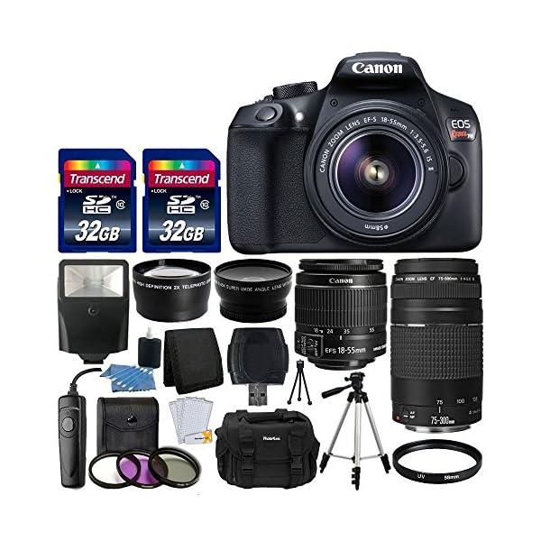61NRBbvOQBL. SS600  - Canon EOS Rebel T6 Digital SLR Camera + Canon 18-55mm EF-S f/3.5-5.6 IS II Lens & EF 75-300mm f/4-5.6 III Lens + Wide…