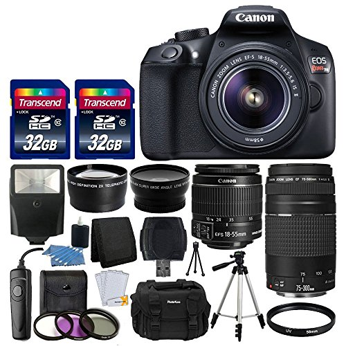 Canon Eos Digital Slr Cameras - Canon EOS Rebel T6 Digital SLR Camera + Canon 18-55mm EF-S f/3.5-5.6 IS II Lens & EF 75-300mm f/4-5.6 III Lens + Wide Angle Lens + 58mm 2x Lens + Slave Flash + 64GB Memory Card + Wired Remote + Bundle