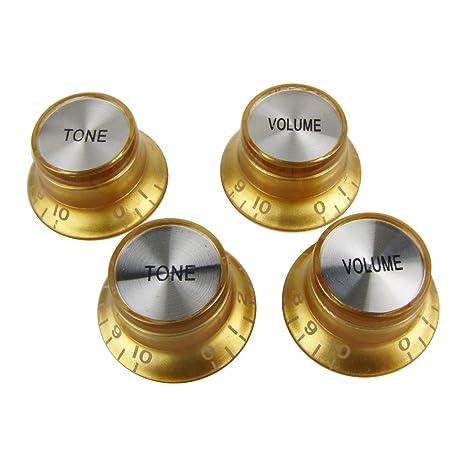 Musiclily Métrico 2 Volumen y 2 Tono Botón de Potenciómetro para para Guitarra Eléctrica de estilo