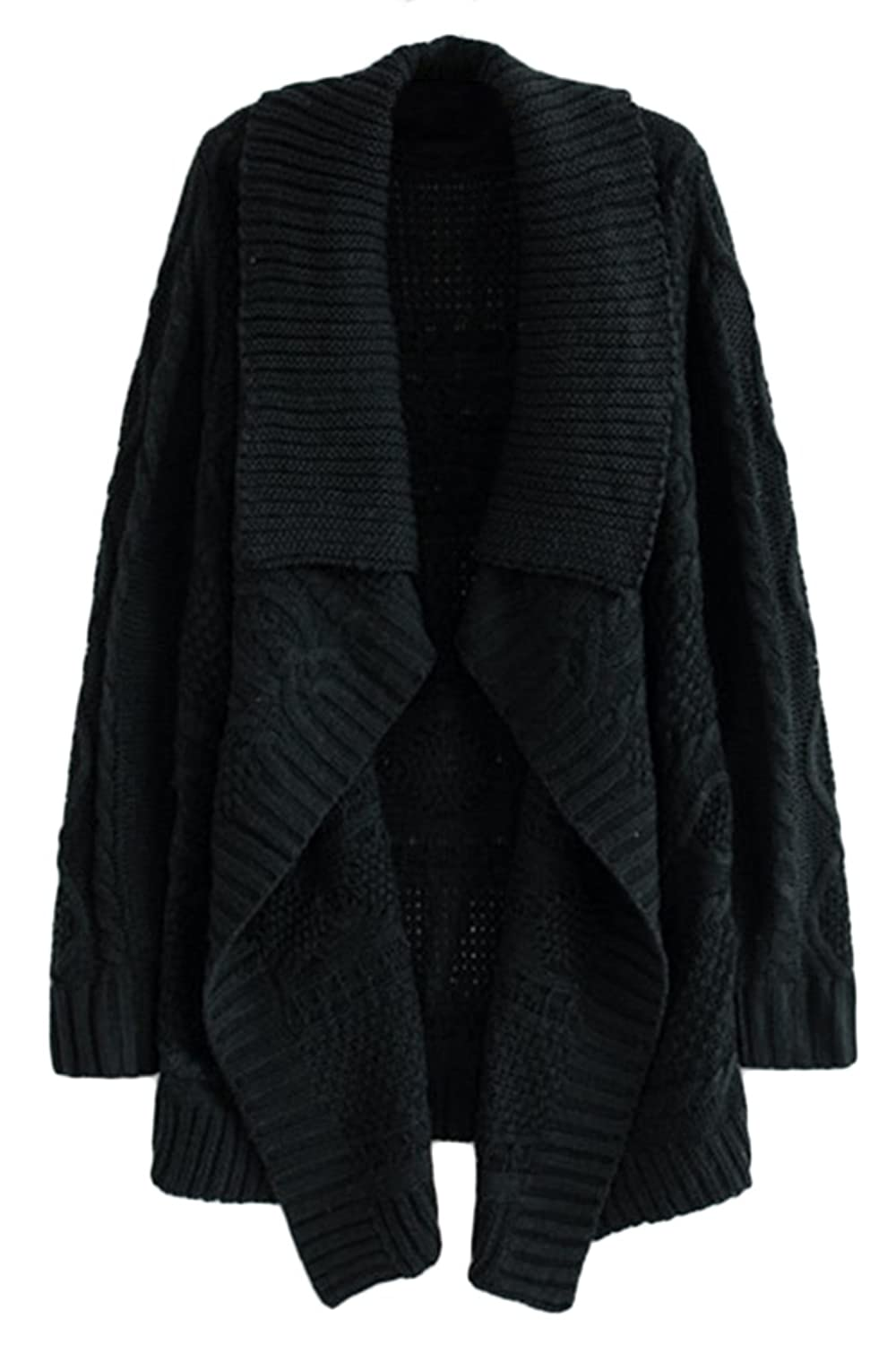 Pink Queen Women Cable Knit Open Front Kimono Cardigans Sweaters