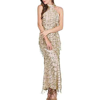 1100e613aab Lakeness Women s Long Sleeve Sequins Wraped Dresses Plus Size Sexy Elegant  Party Bodycon Halter Dress Tassel
