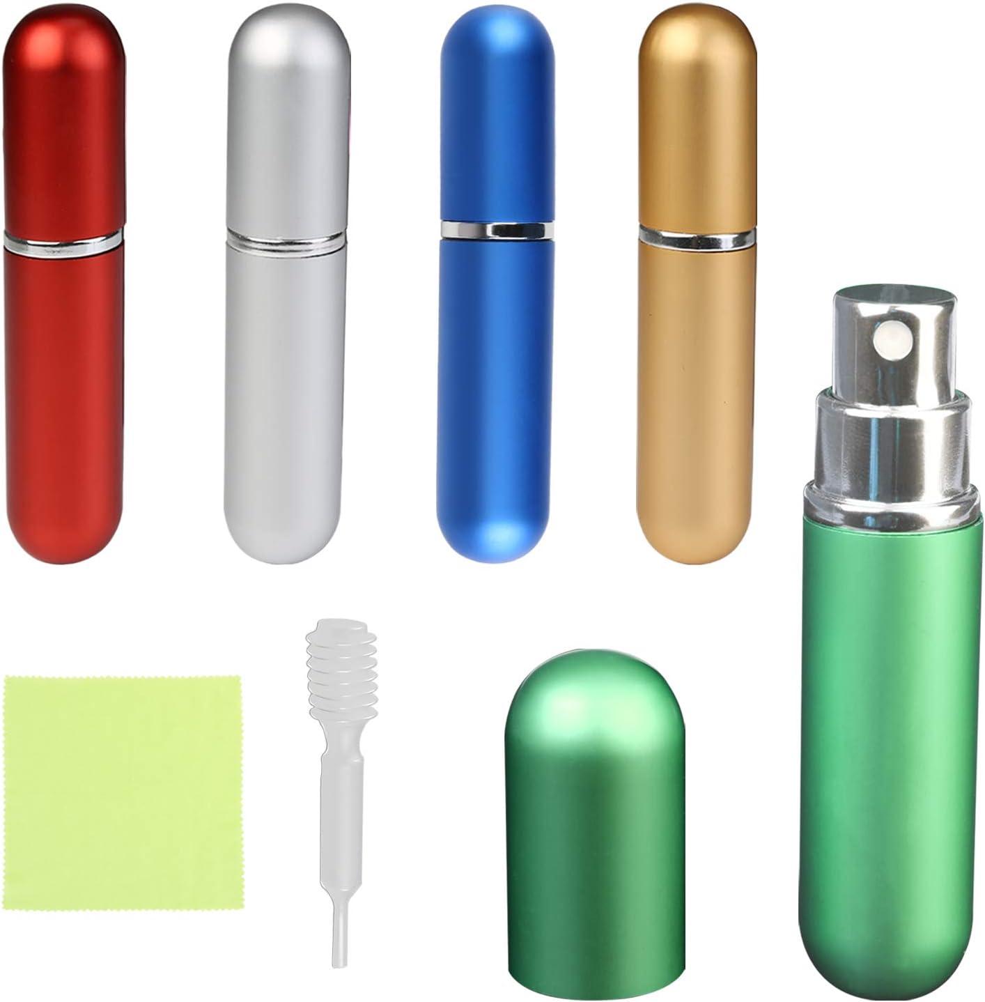 Botella Recargable de Perfume TAZEMAT 5 pcs Mini Atomizador de Perfume Portátil para Viaje Bolso Equipaje Frasco de Vaporizador Spray para Colonia con Pipeta Multicolor 5 ml Mujeres Hombres