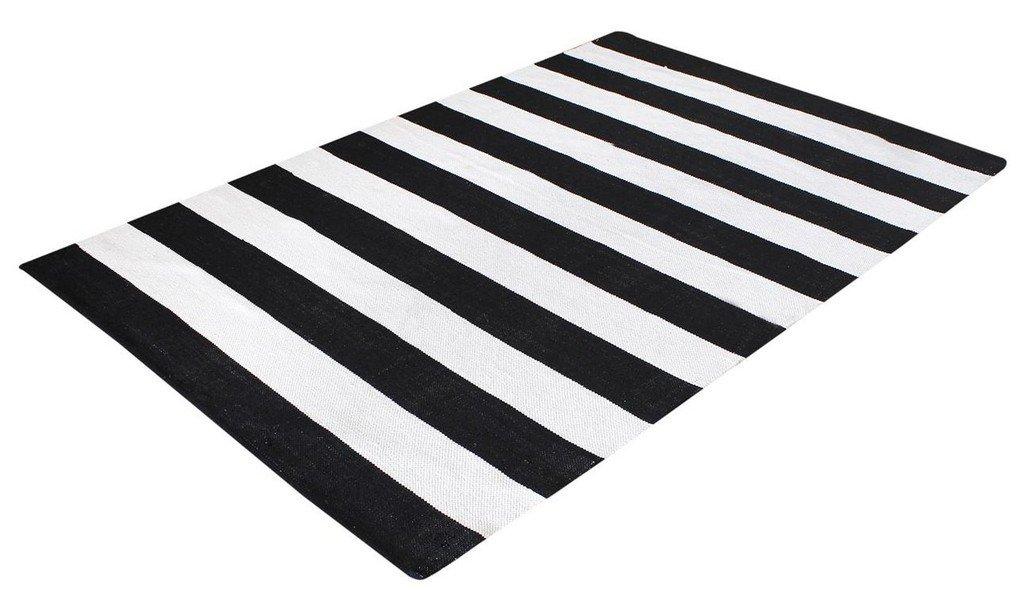 La República alfombra hecha a mano negro algodón Maxo Alfombra (230 x 160 cm)