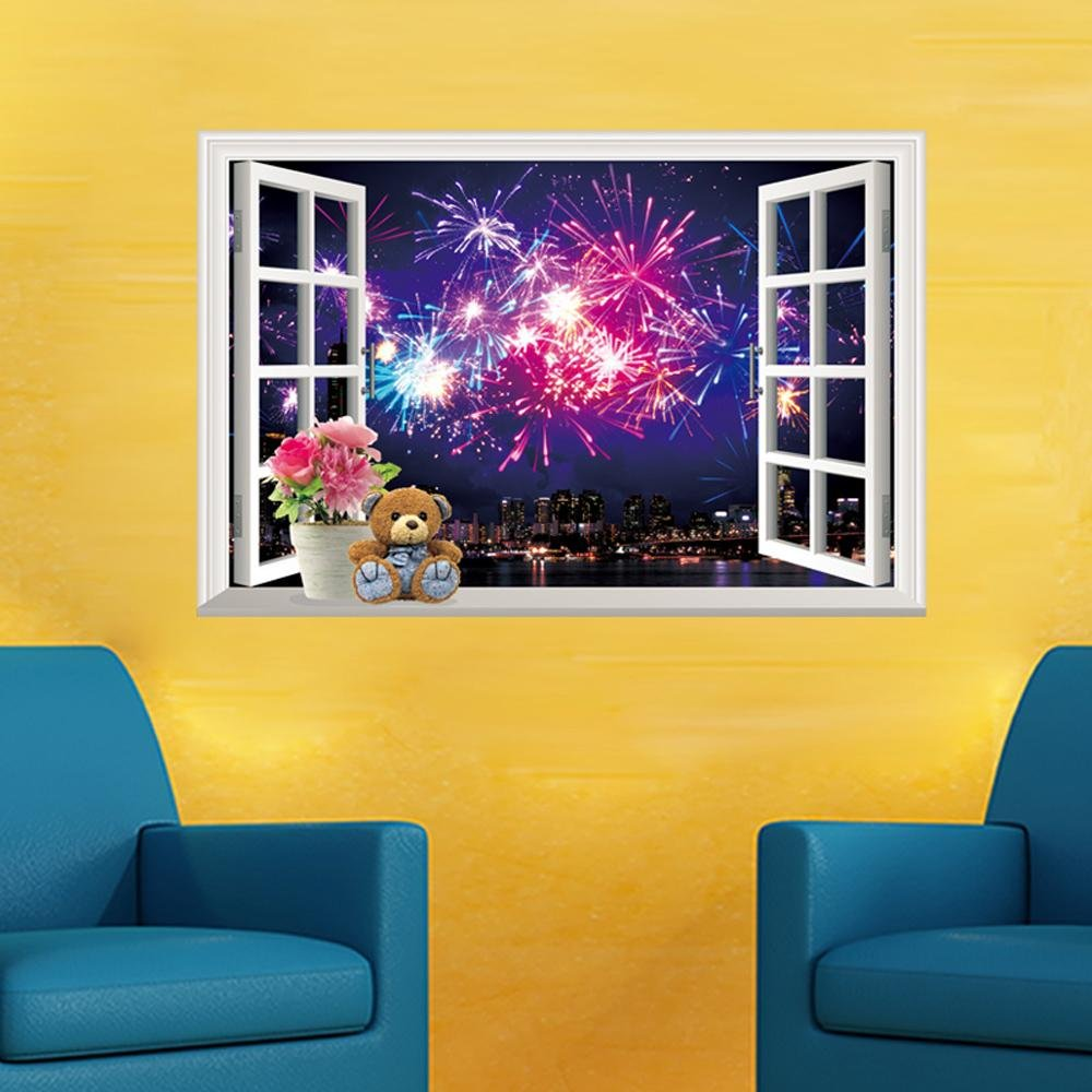 Amazon.com: Home decoration 3D Removable Wall Sticker Fake Window ...