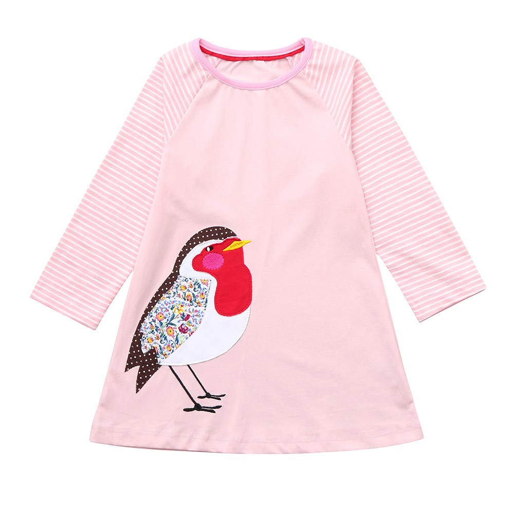 KONFA Teen Toddler Baby Girls Cartoon Bird Stripes Print Dress,for 1-7 Years,Little Princess Long Sleeve Skirt Clothing Set