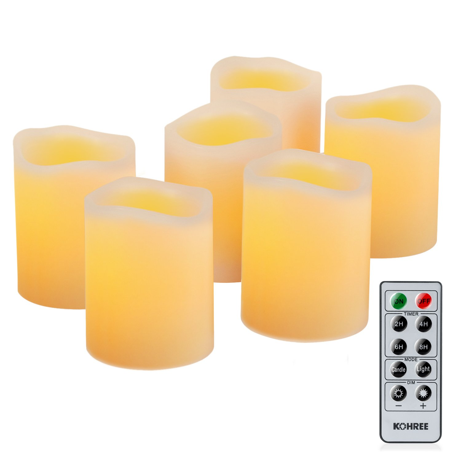 Kohree Real Wax Flameless LED Candles Remote Control Candles Battery Operated Retro Unscented Ivory Votive Pillar Candles Light, Warm White (Pack of 6)