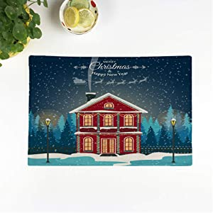 rouihot Set of 6 Placemats Blue Santa Merry Christmas House Happy New Year Winter 12.5x17 Inch Non-Slip Washable Place Mats for Dinner Parties Decor Kitchen Table