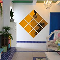 DIY 15x15cm 6pcs Squares Roof Ceiling Decor Mirror Surface Crystal Wall Stickers DIY Acrylic 3D Home Decal Living Room Murals Wall Paper Home Decor (Gold)