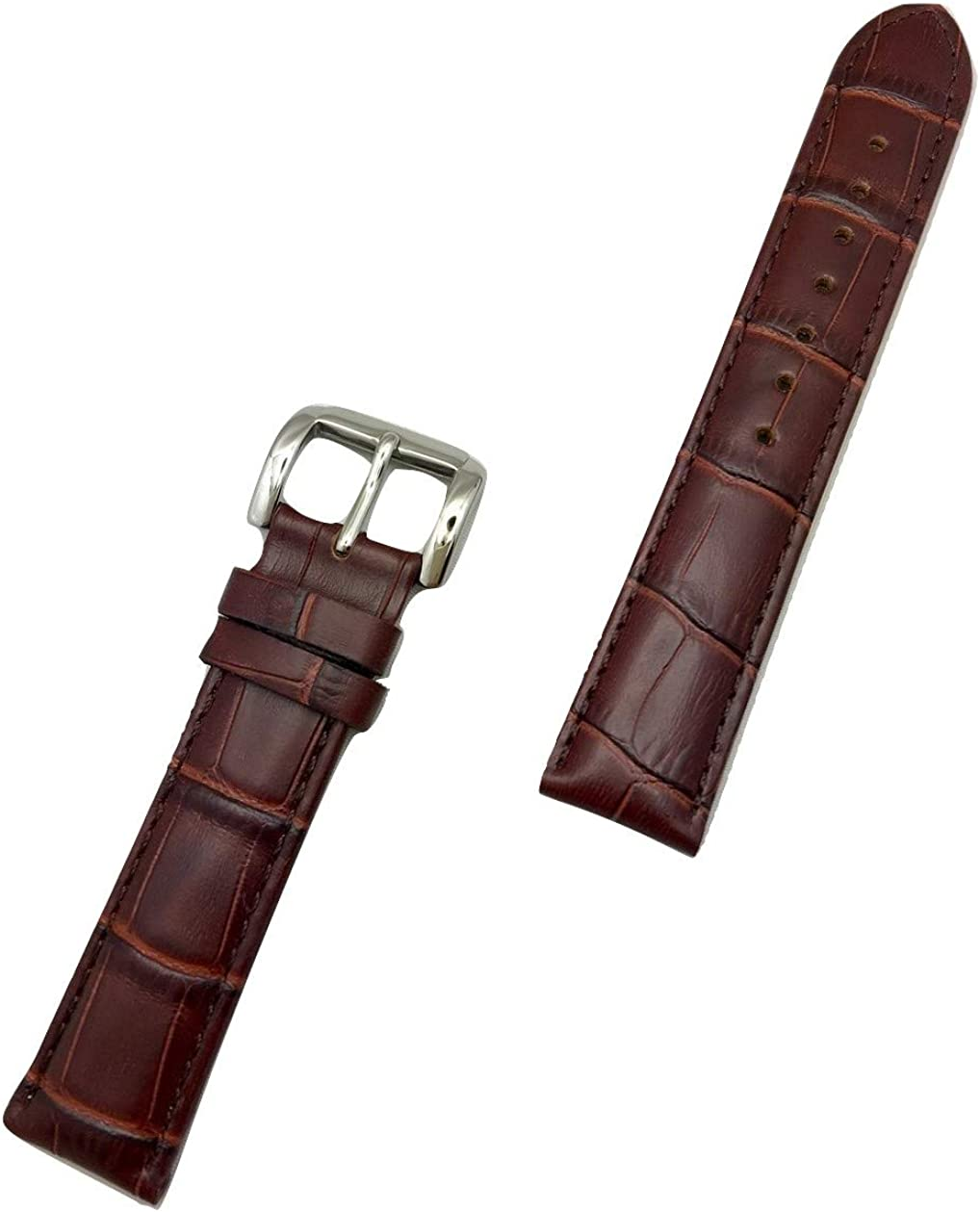19mm Dark Brown Genuine Leather Watch Band   Square Alligator Crocodile Grained, Lightly Padded Replacement Wrist Strap that brings New Life to Any Watch (Mens Standard Length)