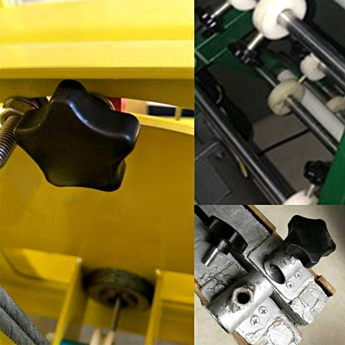 4 Pcs Star Knobs Grips M6 x 35mm Male Thread Steel Zinc Stud Black PP