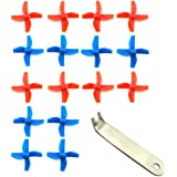 WOSKY 4 Sets 4-blade FPV Propeller Red / Blue CW CCW Props for Tiny Whoop Inductrix H36 E010 RC Micro Quadcopter (Red&Blue)