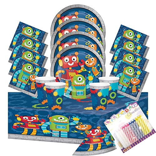 Party Robots Party Plates Napkins Cups and Table Cover (Serves-16) with Birthday Candles - Robot Party Supplies Pack Deluxe (Bundle for - Supplies Robot