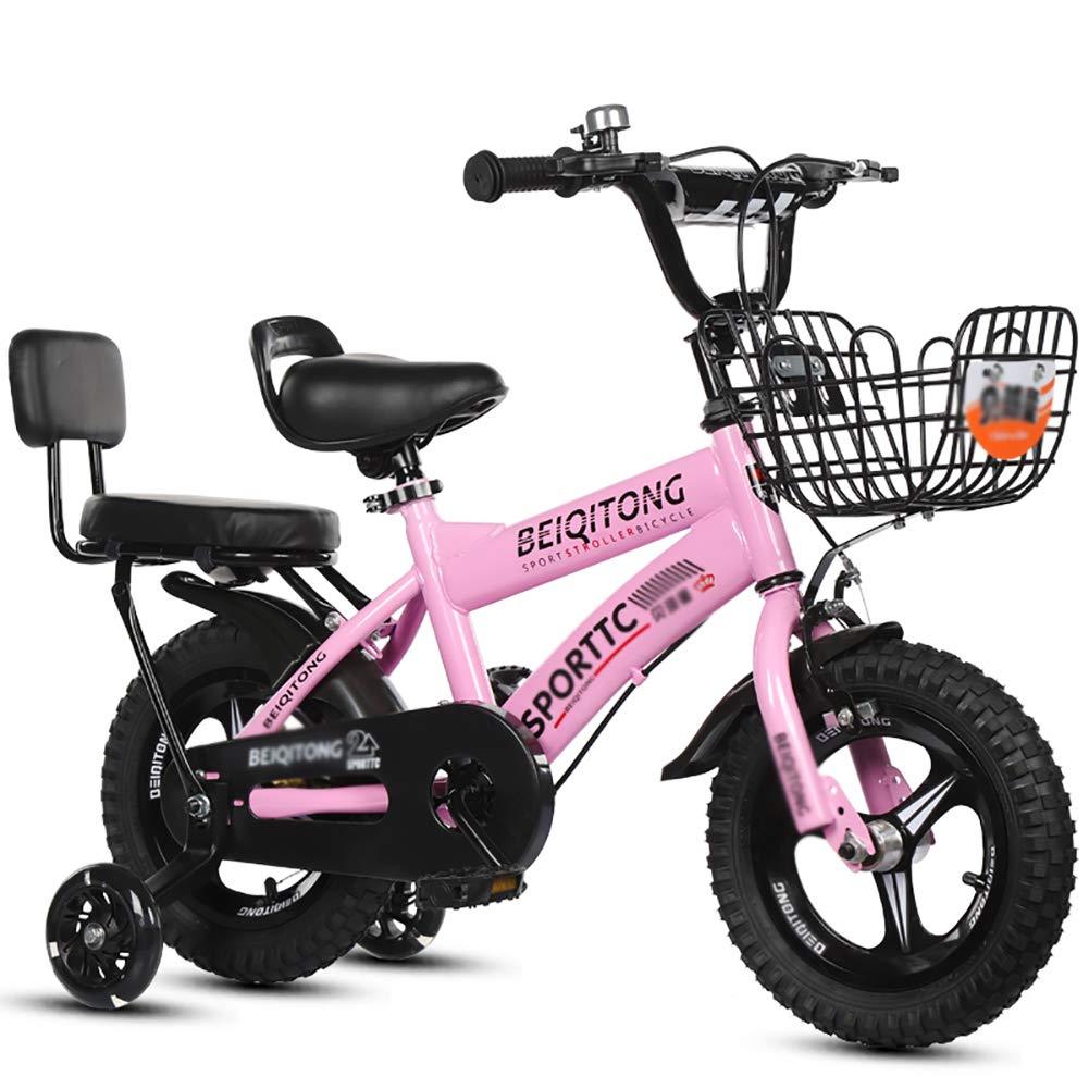BAICHEN Bici per Bambini Bicicletta per Bambini con la Ruota di addestramento 14 12 16 18 Pollici Ragazzi e Ragazze in Bicicletta,4 Colorei Disponibili Adatto a Bambini 3-9 Anni,rosa,14inches