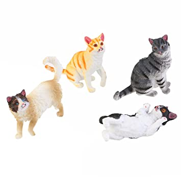 TOYMYTOY Figuras de animales Figuras Modelos Gatos - 4 Piezas: Amazon.es: Juguetes y juegos