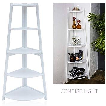 Tall Corner Shelf, 5 Tier Corner Display Rack Bookcase Shelving Unit   White  Corner Storage