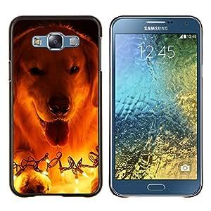 Labrador Golden retriever Luces de Navidad- Metal de aluminio y de plástico duro Caja del teléfono - Negro - Samsung Galaxy E7 / SM-E700