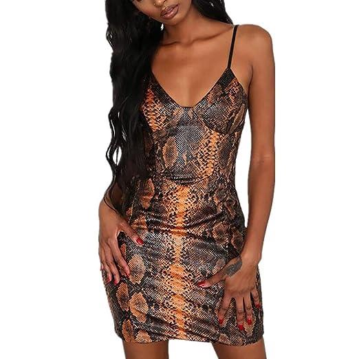 70fdc79508e Amazon.com: Dimanul Sexy Women Casual Printed Sexy Women's Fashion Women's  Sleeveless Sling Snake Print Mini Party Dress: Clothing